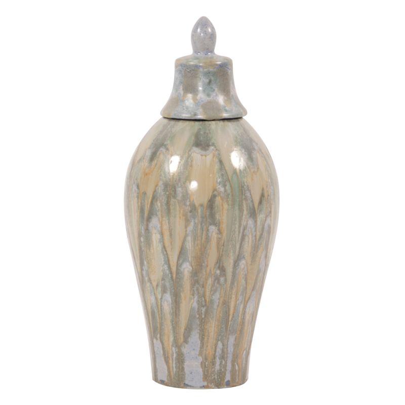 "Howard Elliott Large Celadon Dripped Ceramic Urn with Lid 20.5"" Tall"