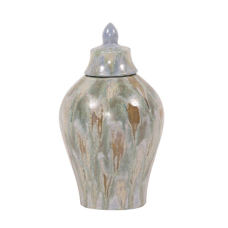"Howard Elliott Small Celadon Dripped Ceramic Urn with Lid 14"" Tall"