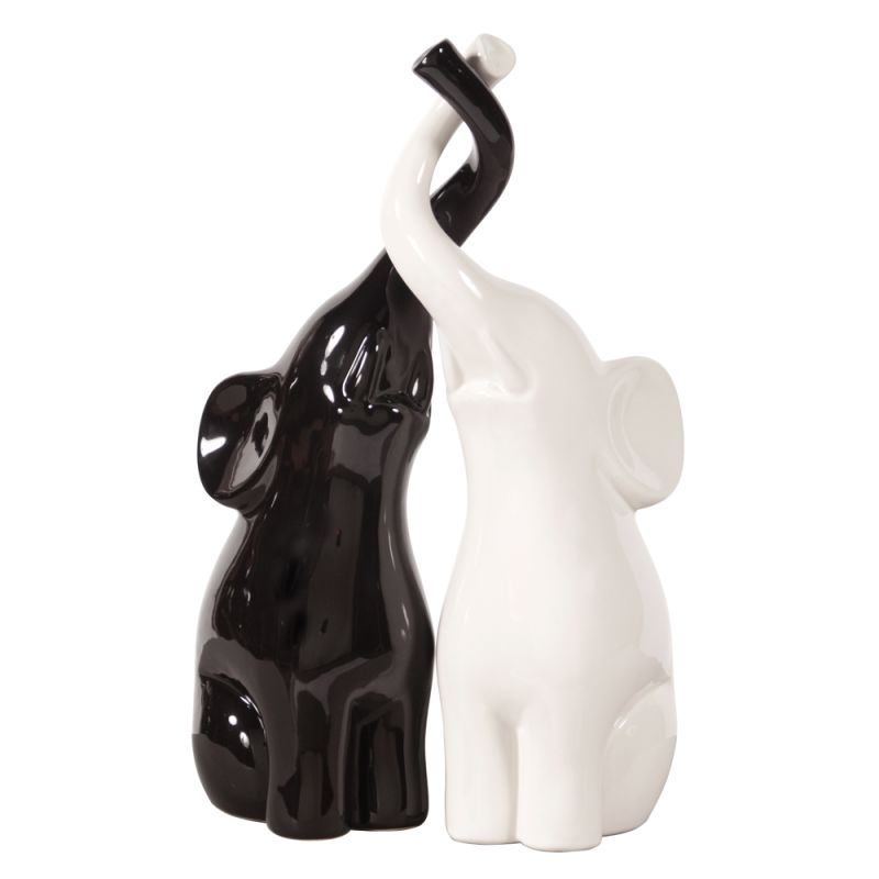 """Howard Elliott Elephant Love and White Sculpture 16"""" Tall Ceramic"""