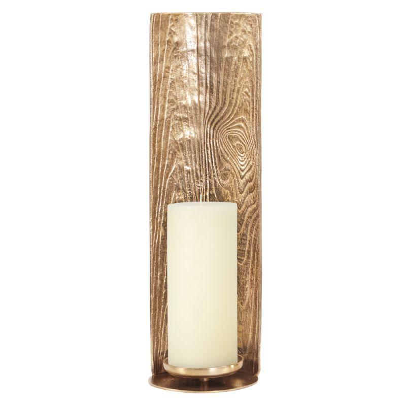 "Howard Elliott Textured Gold Candle Pillar Holder 24"" Tall Aluminum"