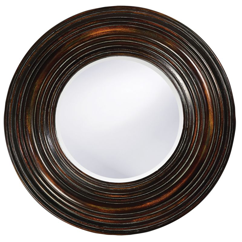 "Howard Elliott 37004 Canton 38"" x 38"" Distressed Round Mirror Brown"