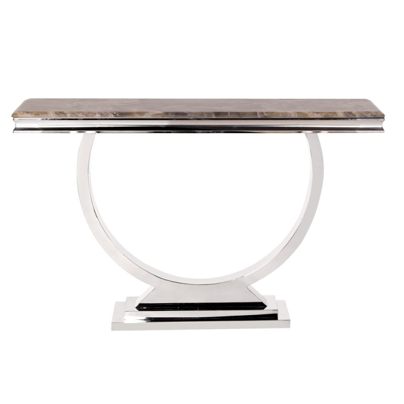 "Howard Elliott Stainless Steel Console Table with Stone Top 47.5"" Wide"