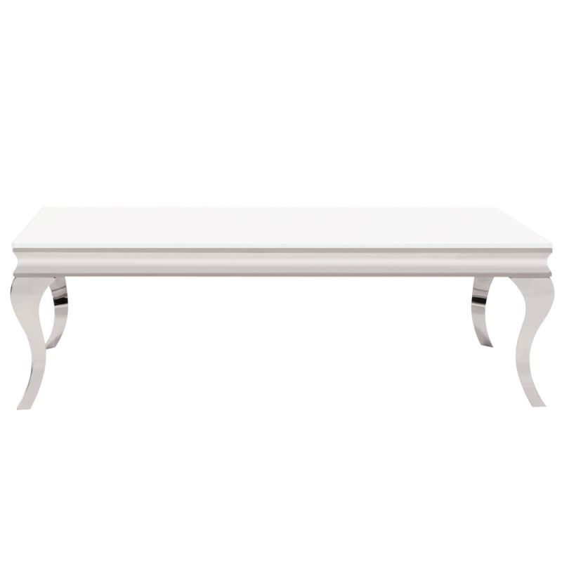 """Howard Elliott Stainless Steel Coffee Table with Glass Top 51"""" Wide"""
