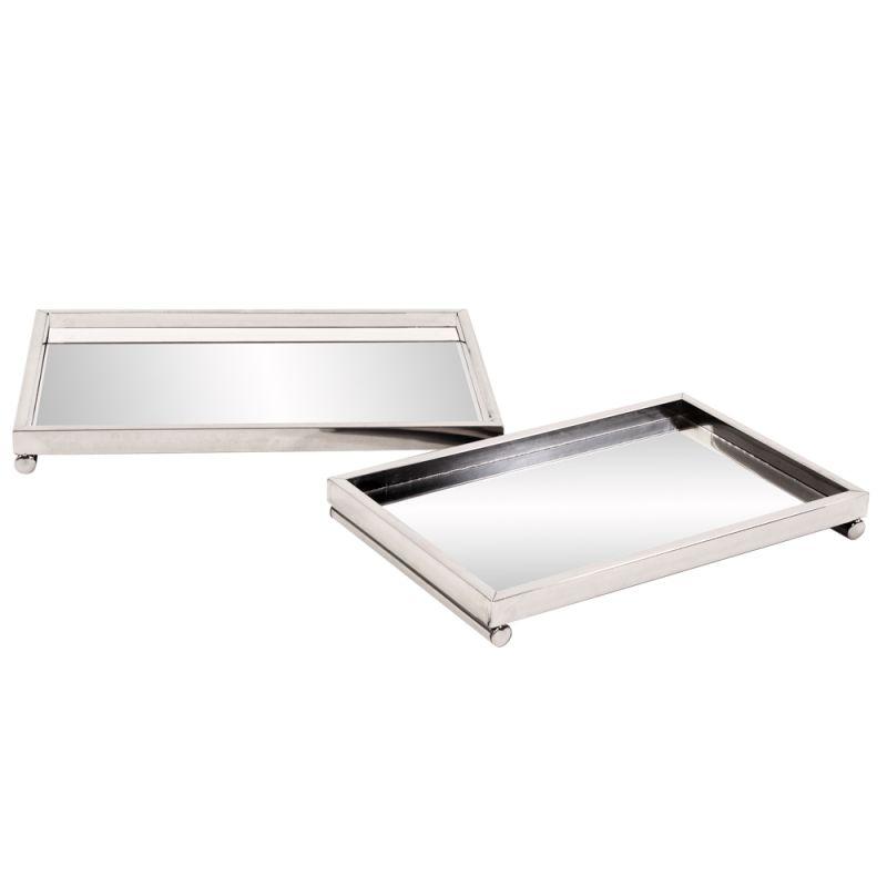 Howard Elliott Chrome Tray Set with Mirrored Surface Set of 2 Chrome
