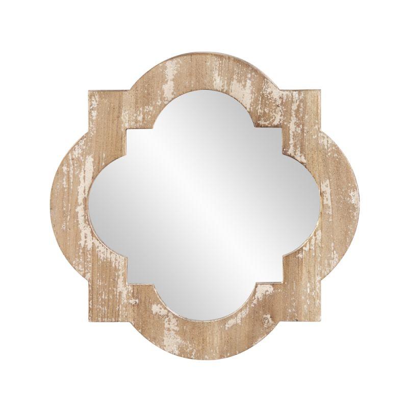 "Howard Elliott 39022 Sabrina 13"" x 13"" Wooden Quatrefoil Mirror Brown"