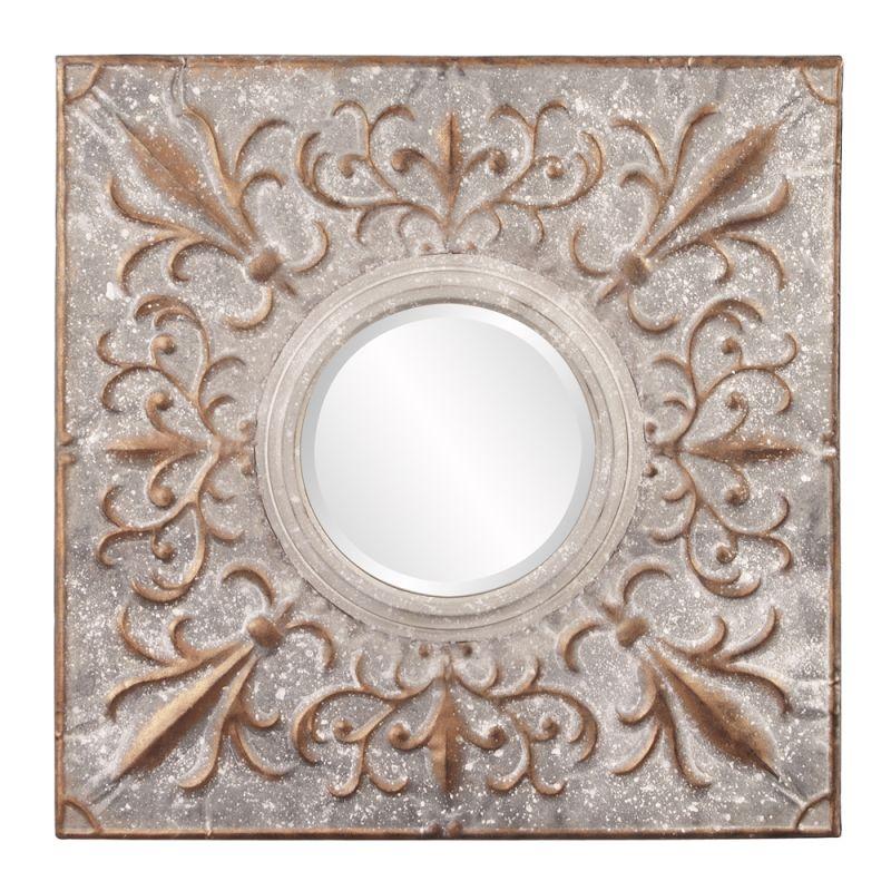 "Howard Elliott 39024 Shelby 29"" x 29"" Fleur Di Lis Mirror Copper Home"