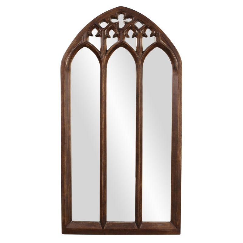 """Howard Elliott 43122 Basilica 69"""" x 36"""" Arched Mirror - Tall Brown"""