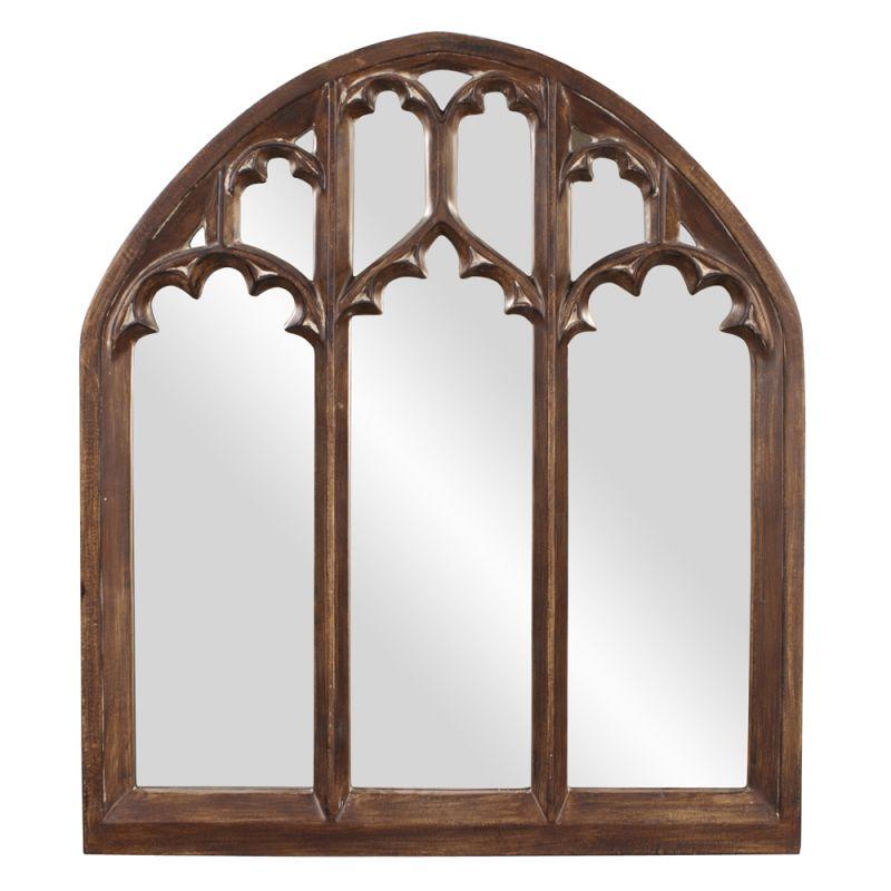 """Howard Elliott 43123 Basilica 48"""" x 42"""" Arched Mirror - Wide Brown"""
