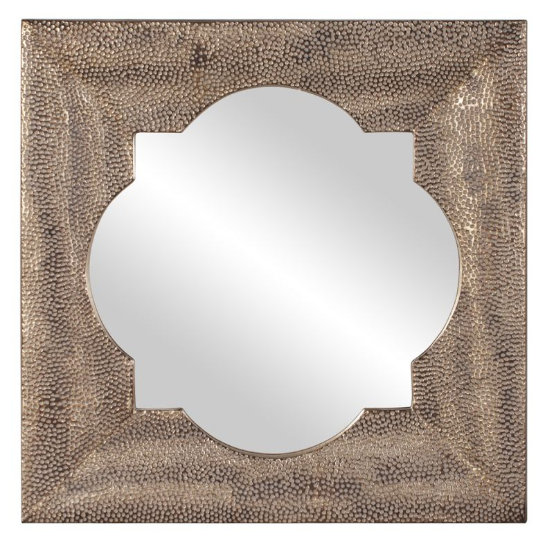 "Howard Elliott 43129 Raymus 40"" x 40"" Hammered Silver Mirror Silver"