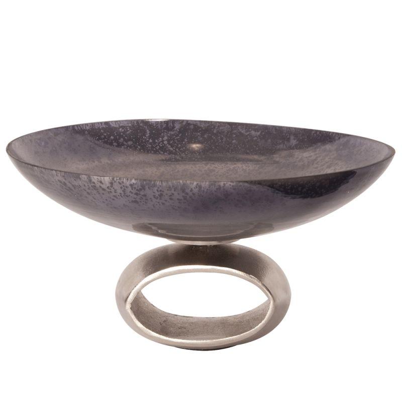 "Howard Elliott Gray Antiqued Glass Bowl Blue 16"" Wide Glass Bowl Blue"