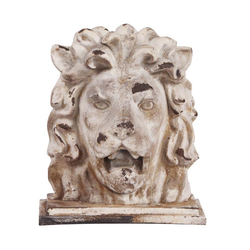 "Howard Elliott Stone Lion Head Sculpture 16"" Tall Ceramic Sculpture"