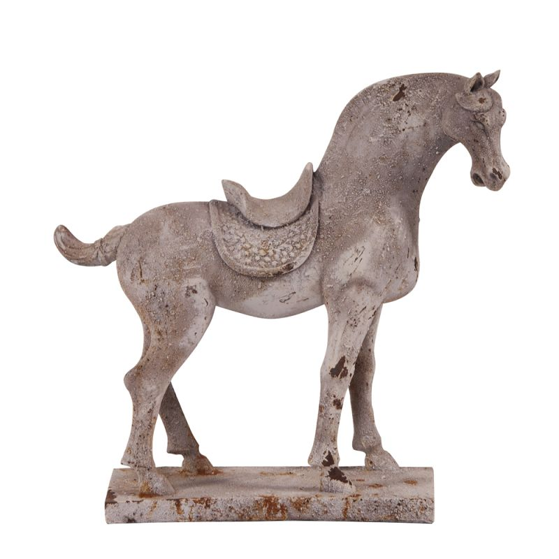 "Howard Elliott Distressed Faux Stone Horse Sculpture 14"" Tall Resin"