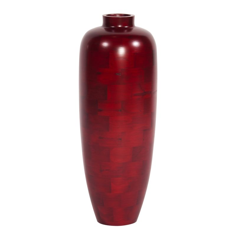 "Howard Elliott Medium Matte Red Wood Vase 24"" Tall Wood Vase Matte Red"