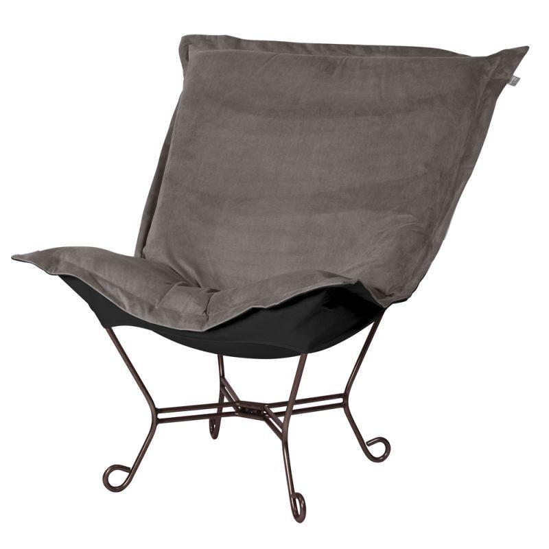 """Howard Elliott Bella Scroll Puff Chair with Mahogany Frame 40"""" Tall"""