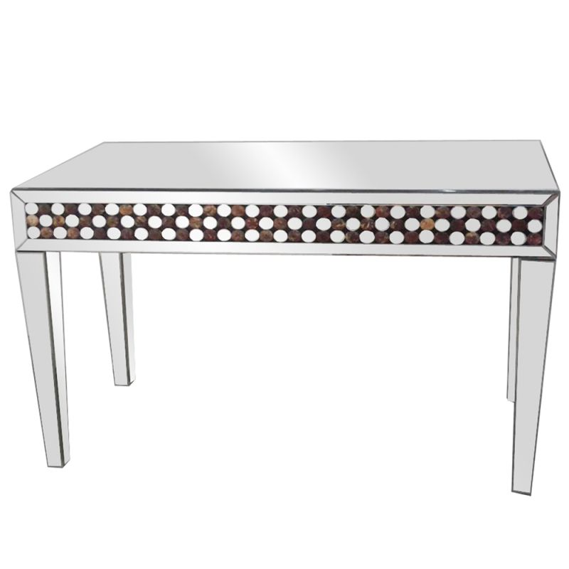 """Howard Elliott Mirrored Console Table with Disk Panel 48"""" Wide"""