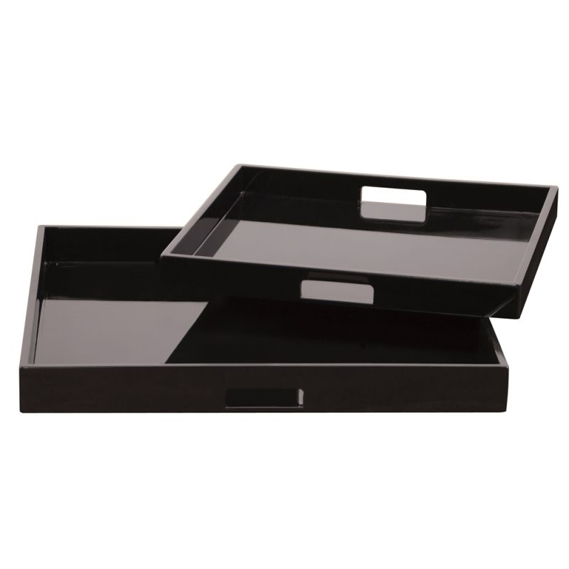 Howard Elliott Lacquer Square Wood Tray Set Set of 2 Square Wood Trays