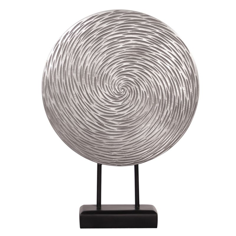 "Howard Elliott Textured Circle Sculpture 19"" Tall Resin Textured"