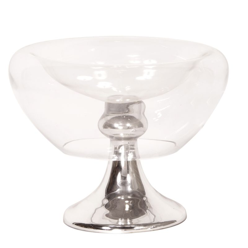 """Howard Elliott Footed Glass Large Bowl 13"""" Wide Footed Glass Bowl"""