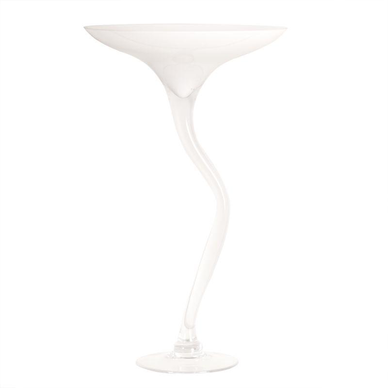 """Howard Elliott White Martini Glass Vase 23"""" Tall Glass Martini Vase"""