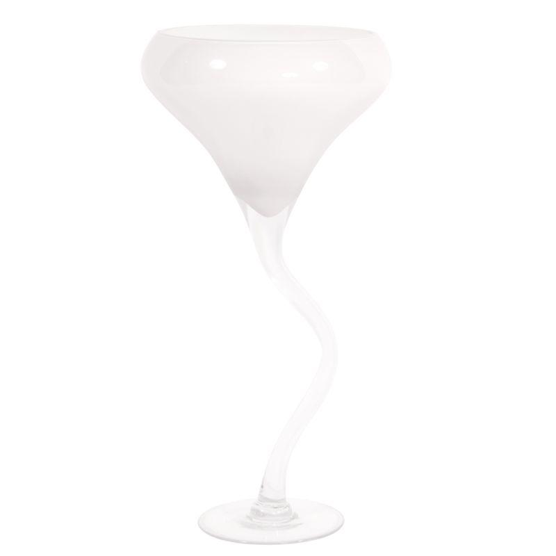 """Howard Elliott White Glass Wine Glass Vase 25"""" Tall Hand Blown Glass"""