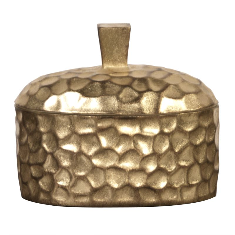 "Howard Elliott Hammered Gold Decorative Box 9"" Wide Hammered Resin"