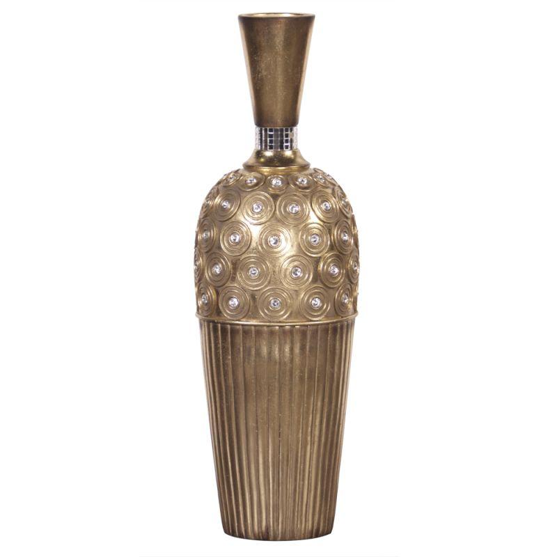 """Howard Elliott Gold Gem Studded Tall Vase 20"""" Tall Resin Studded Vase"""