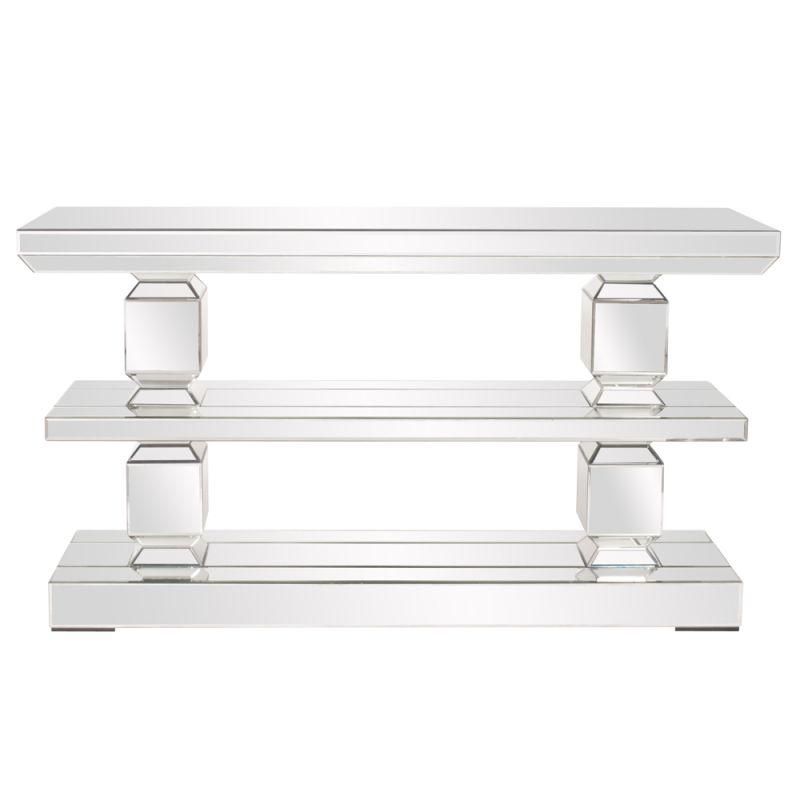 "Howard Elliott Mirrored 3 Shelf Console Table 63"" Wide Mirrored Glass"