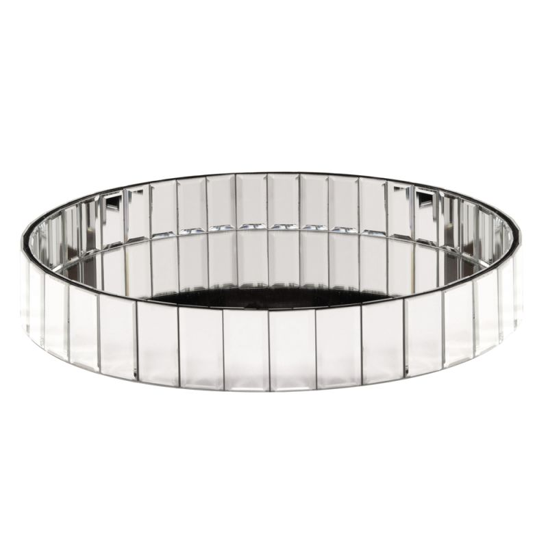 "Howard Elliott Circular Mirrored Tray 18"" Wide Glass and Wood Tray"