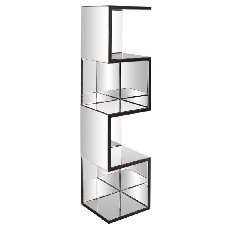 "Howard Elliott Mirrored Shelf with Zig Zag Effect 59"" Tall Mirrored"