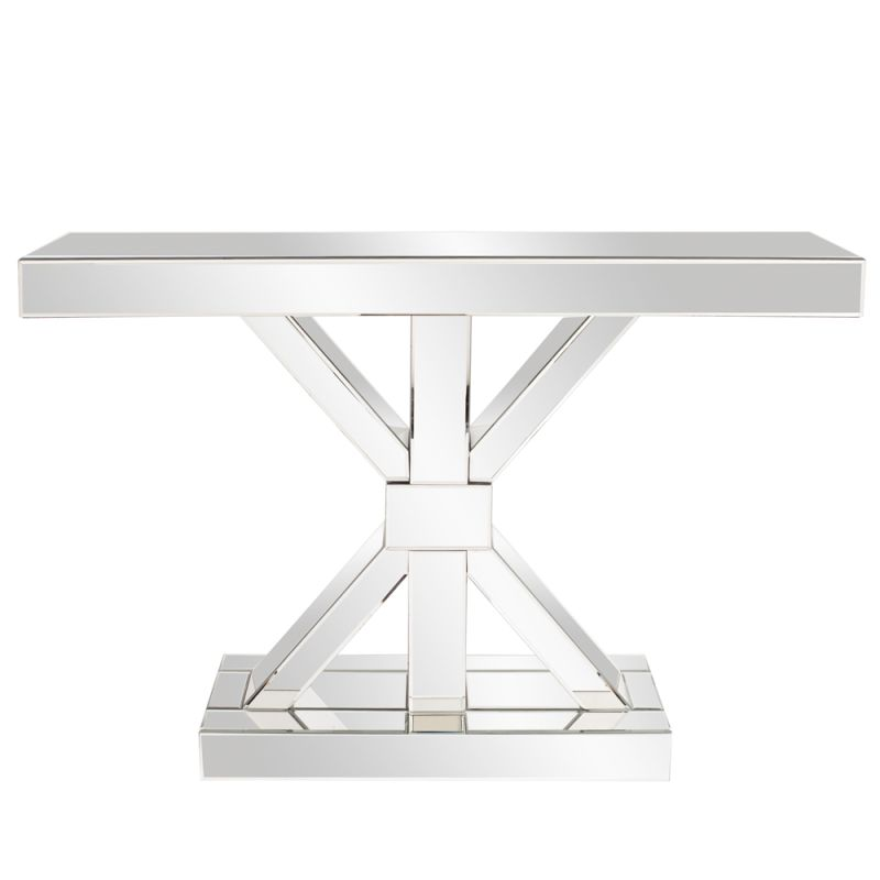 "Howard Elliott Mirrored X Shaped Console Table 47"" Wide X Shaped"