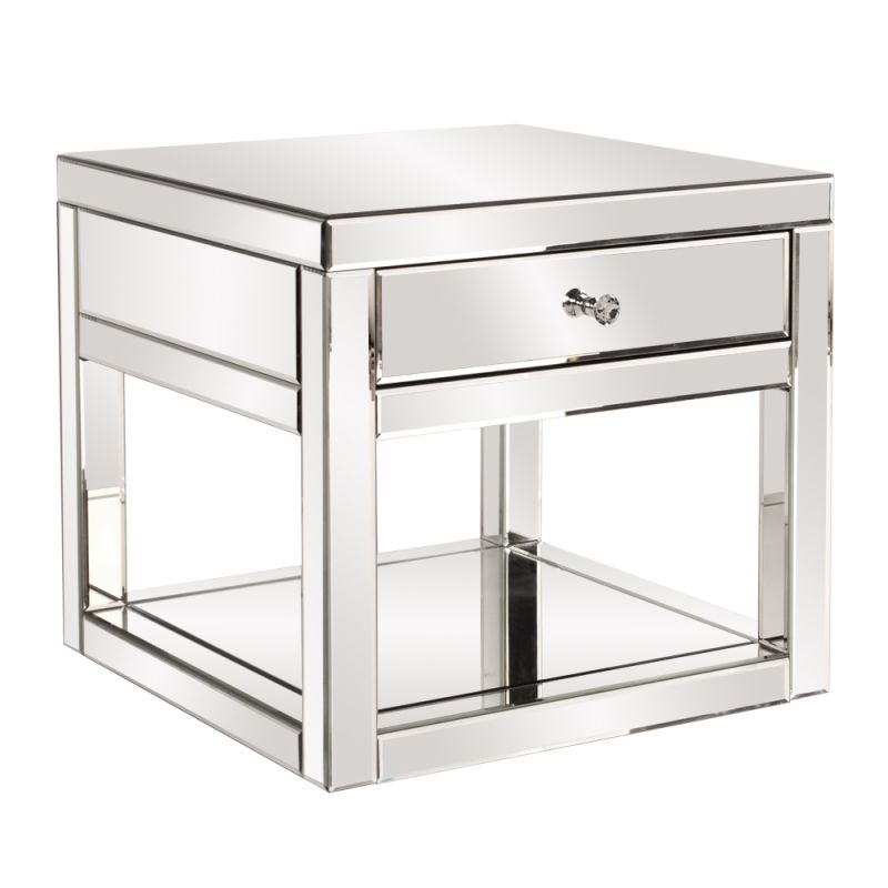 "Howard Elliott Mirrored Side Table with Drawer 24"" Wide Mirrored Glass"