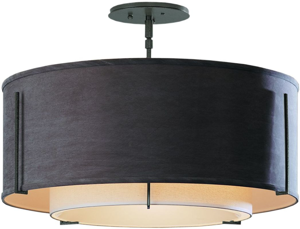 "Hubbardton Forge 126503 1 Light Semi-Flush Medium Ceiling Fixture from Sale $924.00 ITEM: bci1283403 ID#:126503-20 Product Features: Finish: Black , Light Direction: Down Lighting , Width: 22.9"" , Height: 15.3"" , Genre: Transitional , Bulb Type: Compact Fluorescent, Incandescent , Number of Bulbs: 3 , Fully covered under Hubbardton Forge warranty , Location Rating: Indoor Use :"
