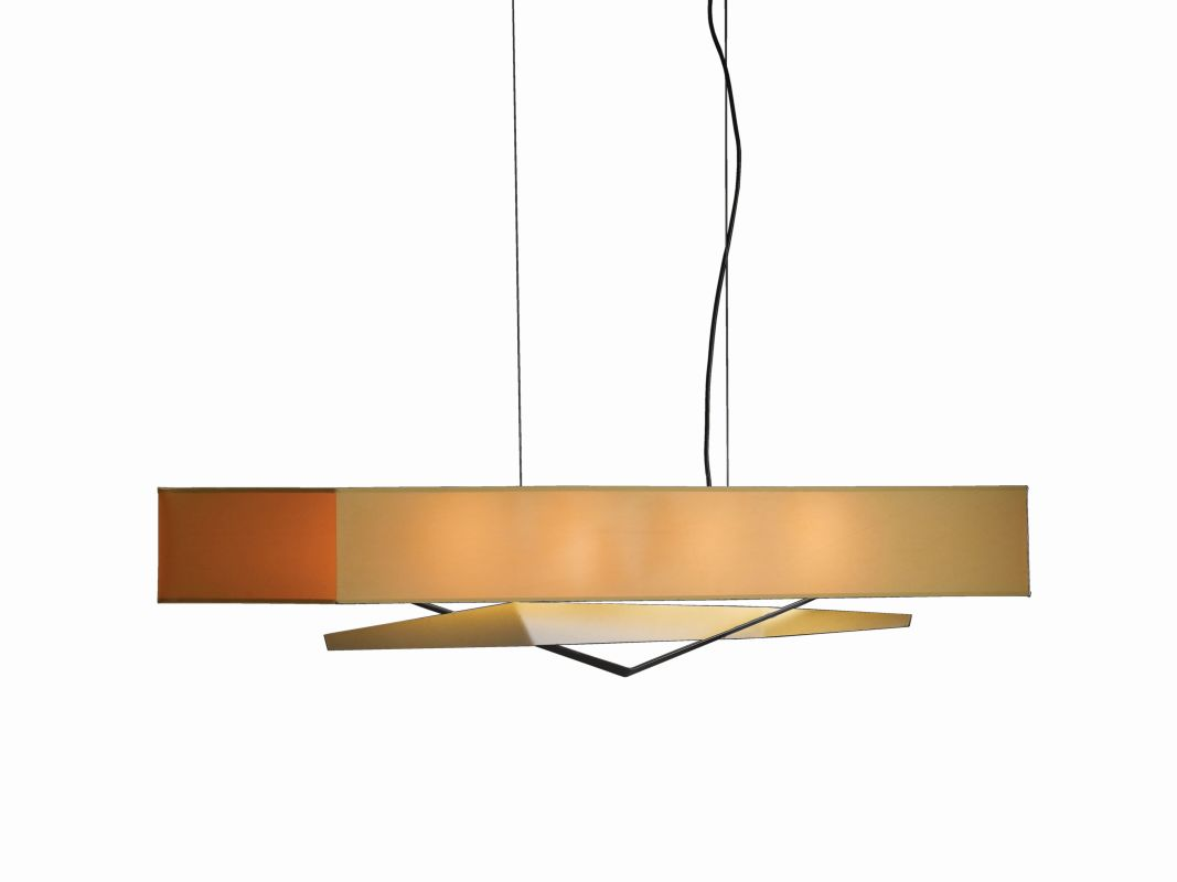 "Hubbardton Forge 137620 Facet 4 Light 48"" Wide Chandelier with Doeskin"