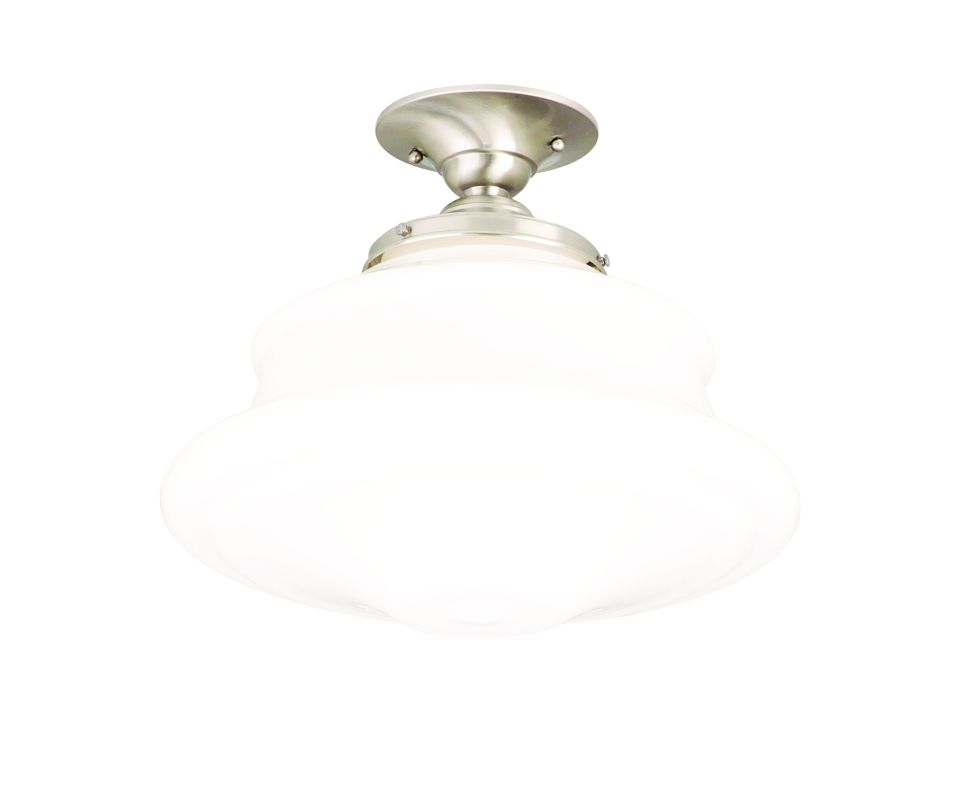 """Hudson Valley Lighting 3416F Single Light Semi Flush Ceiling Mount Sale $279.00 ITEM: bci525140 ID#:3416F-SN UPC: 806134023355 Product Features: Finish: Polished Nickel , Light Direction: Down Lighting , Width: 16"""" , Height: 12.5"""" , Genre: Midcentury / Vintage , Bulb Type: Compact Fluorescent, Incandescent , Number of Bulbs: 1 , Fully covered under Hudson Valley Lighting warranty , Location Rating: Indoor Use :"""