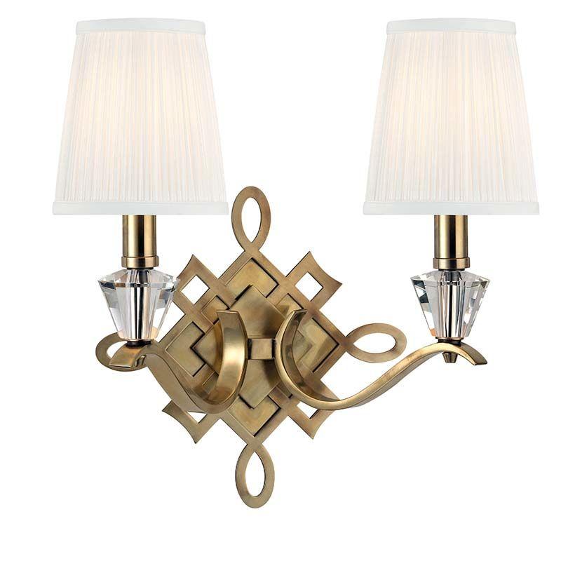 Hudson Valley Lighting 8182 Fowler 2 Light Wall Sconce Aged Brass
