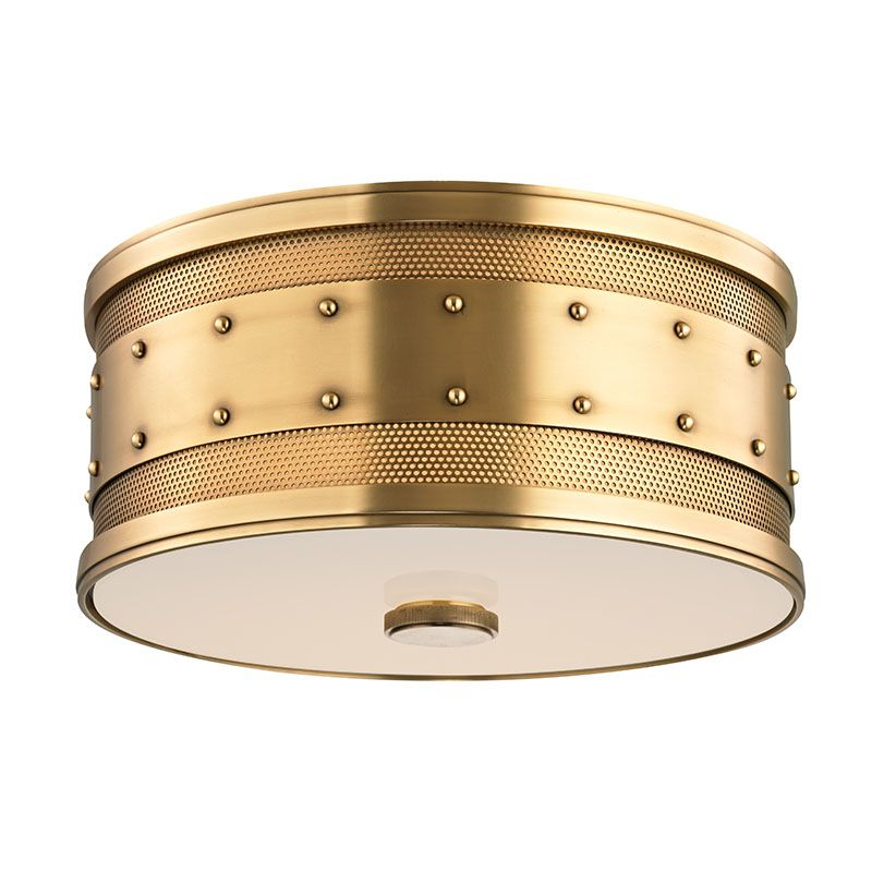 Hudson Valley 2202-AGB Aged Brass Industrial Gaines Ceiling Light