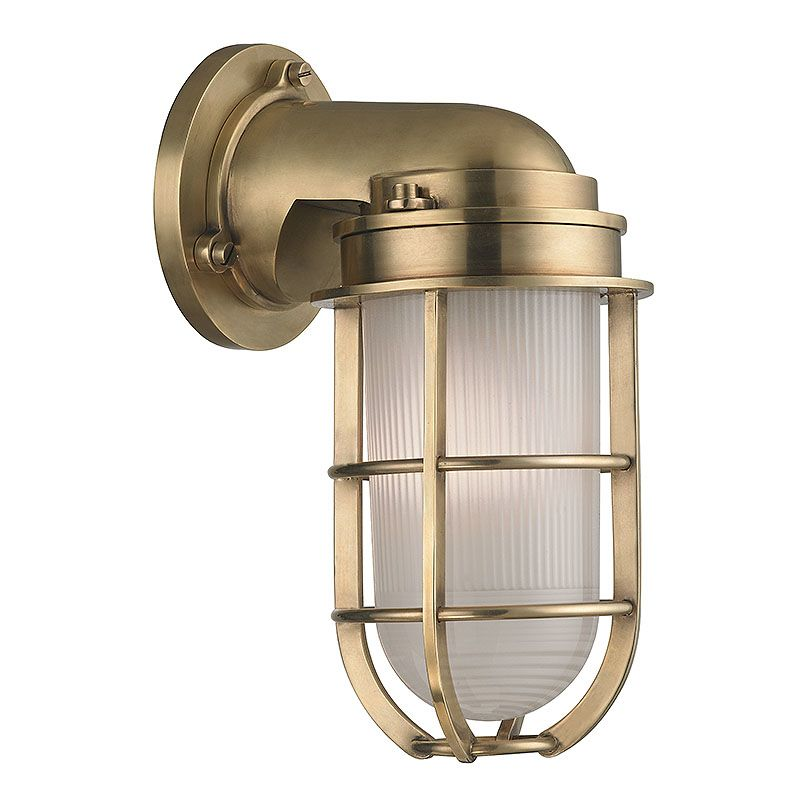 Nautical Outdoor Wall Sconces : Hudson Valley Lighting 240-AGB Aged Brass Carson 1 Light Nautical Outdoor Wall Sconce with ...