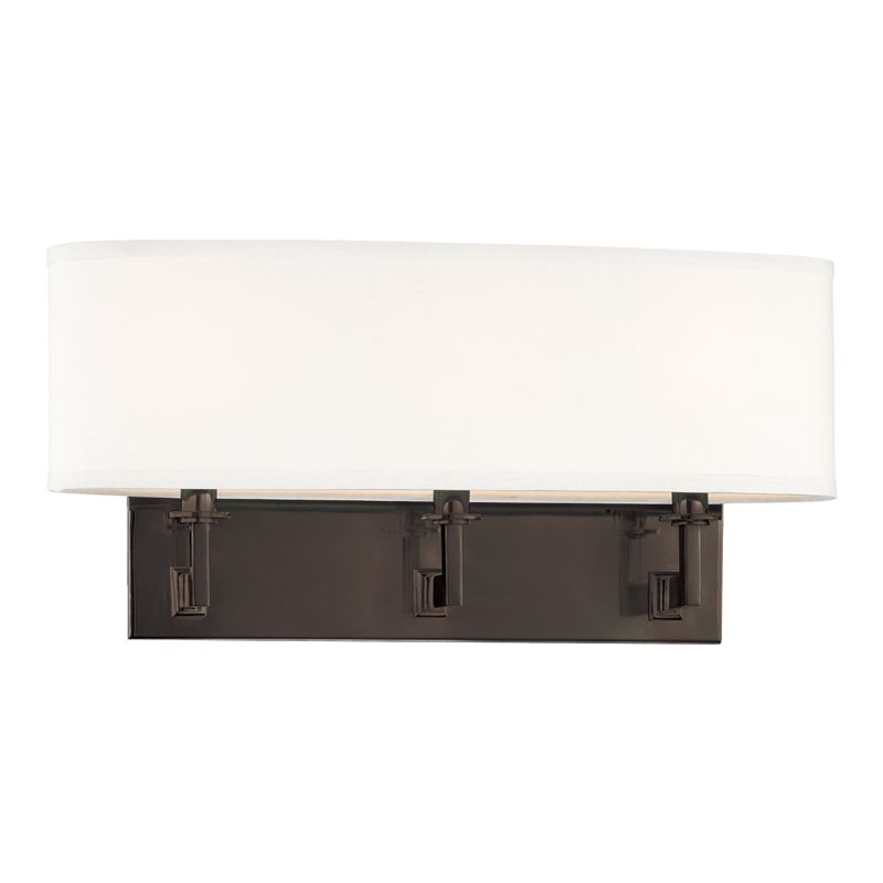 "Hudson Valley Lighting 593 Three Light Up / Down Lighting Triple Wall Sale $342.00 ITEM: bci1737516 ID#:593-OB UPC: 806134106614 Transitional Three Light Up / Down Lighting Triple Wall Sconce with Oval Shaped Faux Silk Shade from the Grayson Collection Grayson Collection Three Light Up / Down Lighting Triple Wall Sconce with Oval Shaped Faux Silk Shade. Features: Faux Silk Oval Shade Specifications: Requires (3) 60W Candelabra Based Bulbs (Not Included) Height: 9"" Width: 19.5"" Extension: 6"" Wall Plate Dimensions: 4.75""H x 15""W Shade Dimensions: 4.5""W x 19.5""L x 5.5""H :"