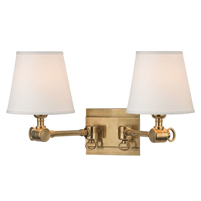 Double Shade Wall Sconces : Hudson Valley Lighting 6232-AGB Aged Brass Hillsdale 2 Light Double Wall Sconce with Linen Shade ...