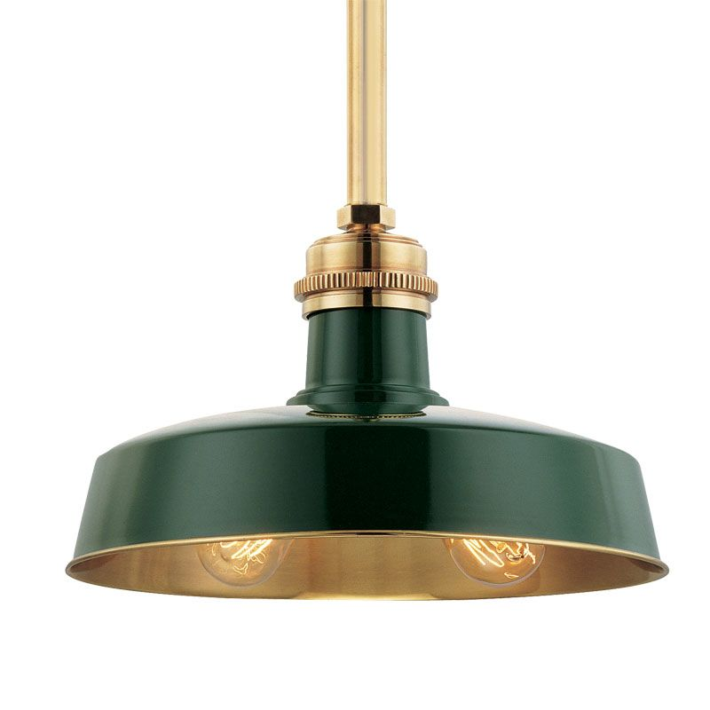 Hudson Valley 8614-GAGB Aged Brass Industrial Hudson Falls Pendant