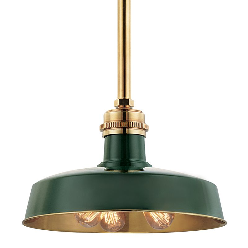 Hudson Valley 8618-GAGB Aged Brass Industrial Hudson Falls Pendant