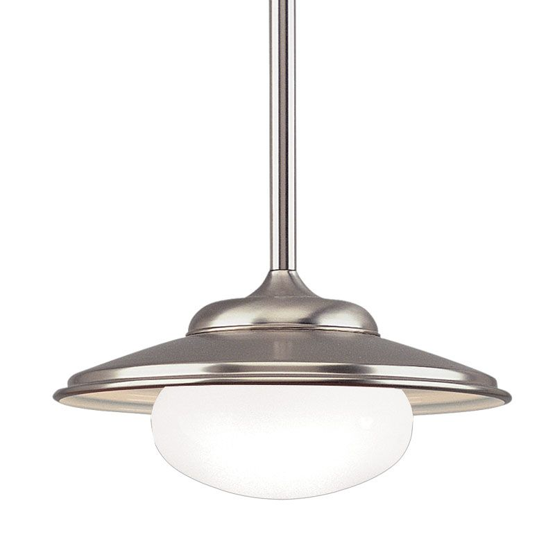 "Hudson Valley Lighting 9119 Single Light Pendant from the Lowell Sale $399.00 ITEM: bci525925 ID#:9119-SN UPC: 806134036232 Independence Collection 1 Light Pendant These reproduction Fixture were often found at train stations during the first half of the 20th century. 19"" D x 12 1/2"" to 51 1/2"" H (max.) 1-100w Medium Base (Not Included) All stem models come with four different lengths of stem (3"", 6"", 12"", 18"") which can be used separately or in combination to achieve up to 39"" total stem length. All stem Fixture are supplied with hang-straight swivels for sloped ceilings. :"