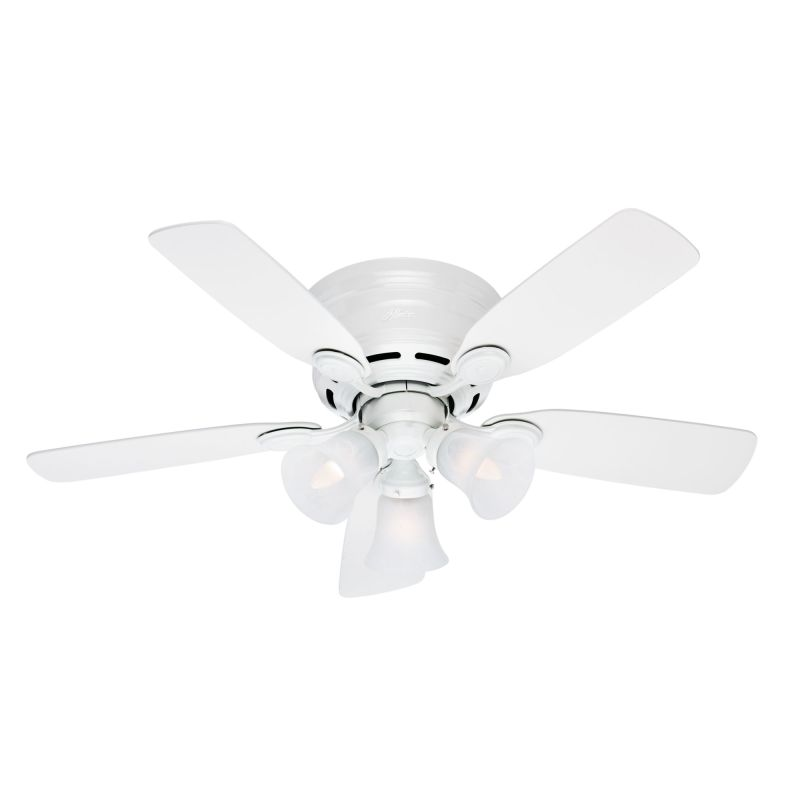 Hunter 51044 White Low Profile Plus 42 5 Blade Flush