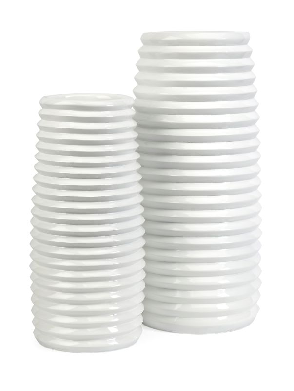 IMAX Home 10327-2 Daley Ribbed Vases - Set of 2 Home Decor Vases
