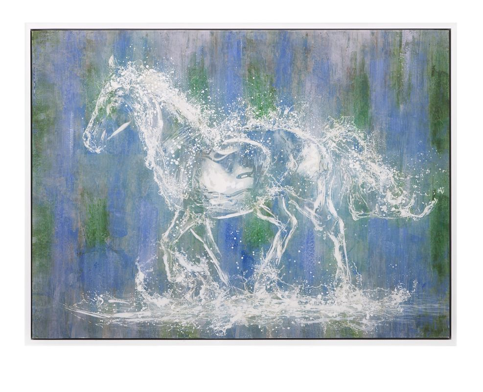 """IMAX Home 11505 35.5"""" x 47.25"""" Ghost Horse Oil On Canvas With Frame"""
