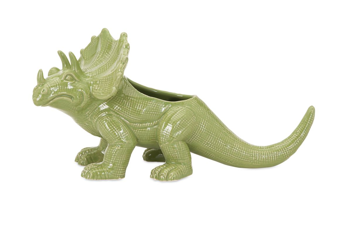 IMAX Home 11745 Dinosaur Green Ceramic Planter Home Decor Planters
