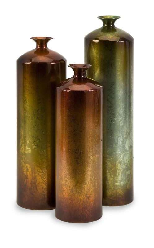 IMAX Home 12976-3 Tangerine Bottles - Set of 3 Home Decor