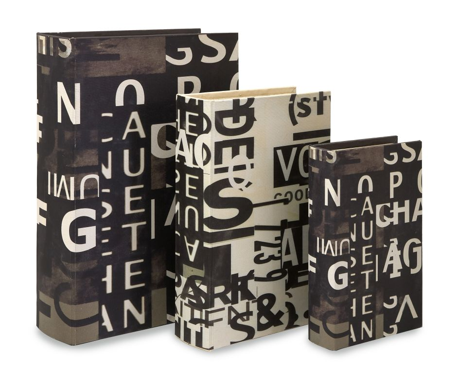 IMAX Home 13128-3 Text Collage Book Boxes - Set of 3 Home Decor