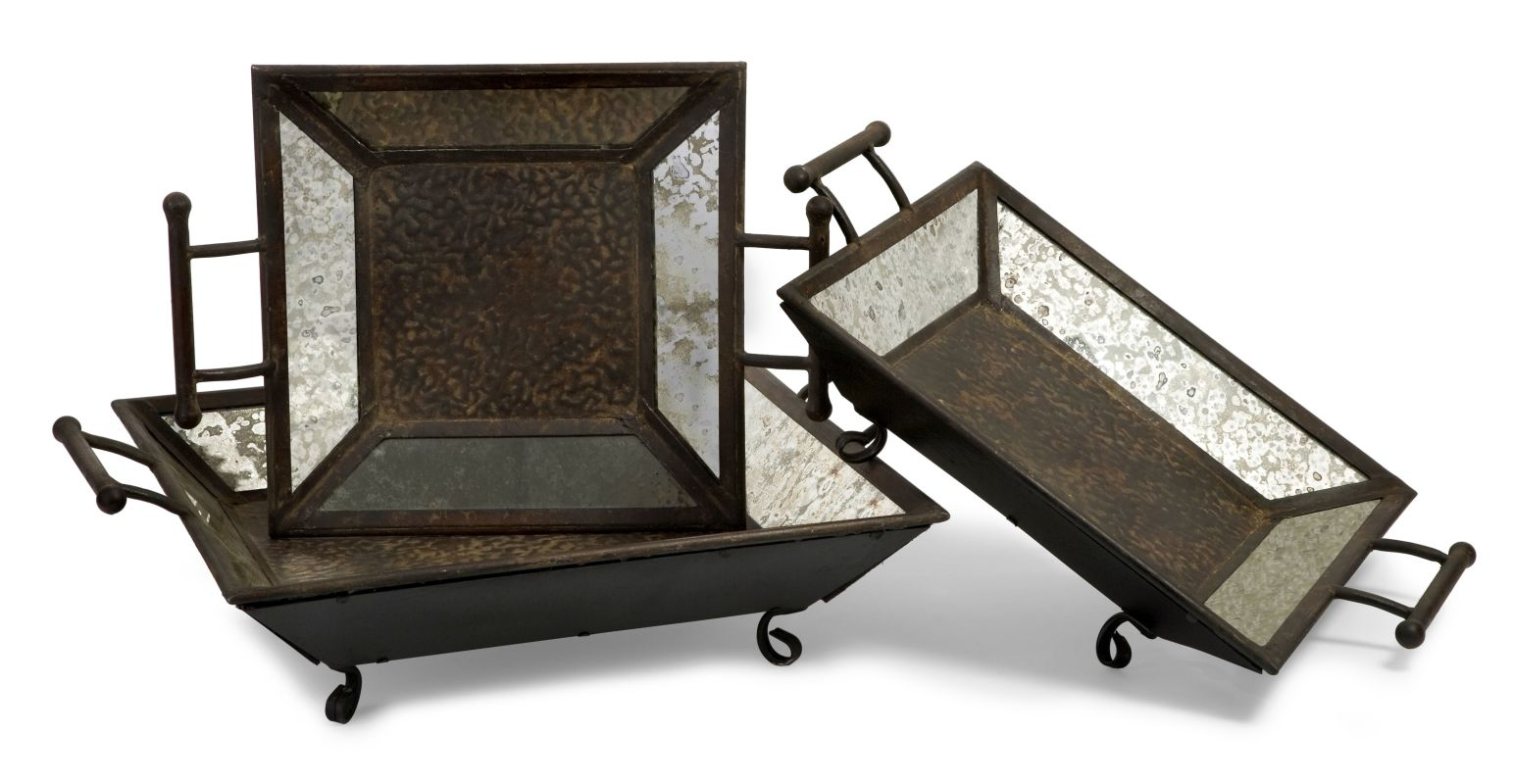 IMAX Home 1324-3 Mirror Trays - Set of 3 Home Decor Decorative