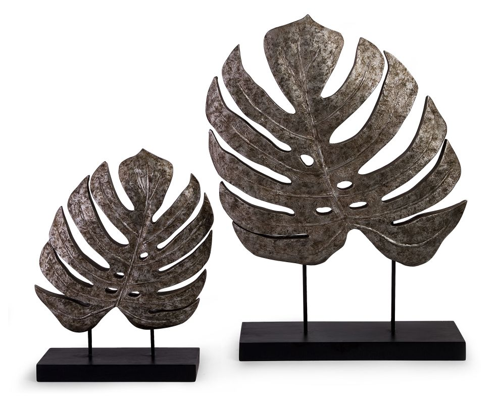 IMAX Home 13424-2 Silver Antiqued Leaves - Set of 2 Home Decor